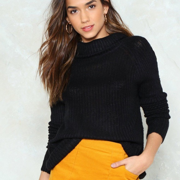 981f2857254 Oversized black turtleneck sweater. NWT. Nasty Gal